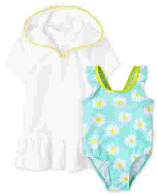 Conjunto de 2 piezas de natación Daisy para bebés y niñas pequeñas