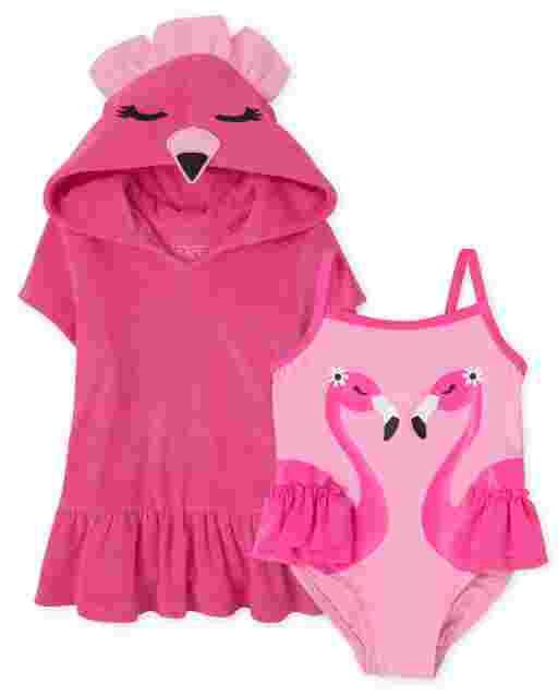 Conjunto de 2 piezas de baño con flamencos para bebés y niñas pequeñas