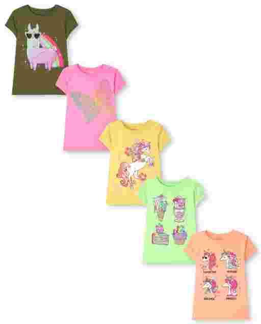 Girls Short Sleeve Animal Graphic Tee 5-Pack