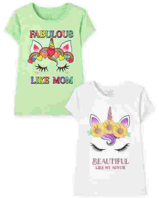 Girls Short Sleeve Unicorn Graphic Tee 2-Pack