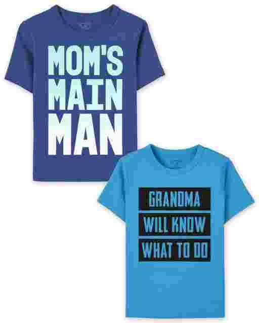 Paquete de 2 camisetas con estampado familiar para niños pequeños