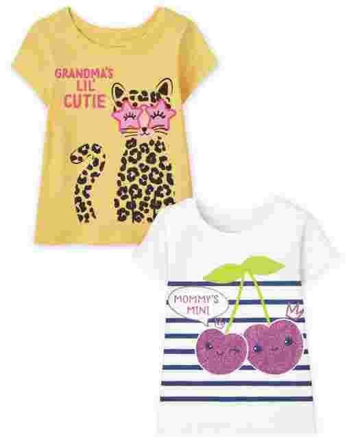 Toddler Girls Short Sleeve Family Graphic Tee 2-Pack