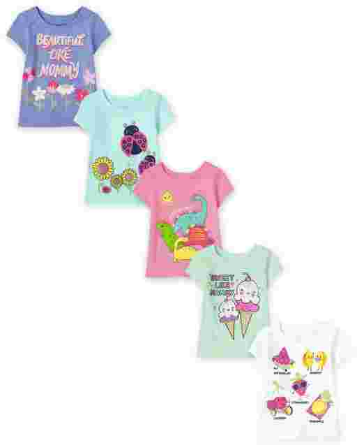 Toddler Girls Short Sleeve Graphic Tee 5-Pack