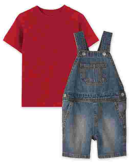Toddler Boys Short Sleeve Top And Denim Shortalls 2-Piece Set