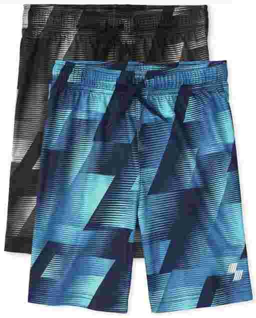Pack de 2 pantalones cortos de baloncesto de rendimiento con estampado para niños