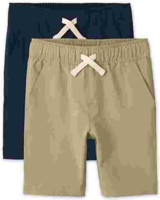 Boys Quick Dry Woven Pull On Jogger Shorts 2-Pack
