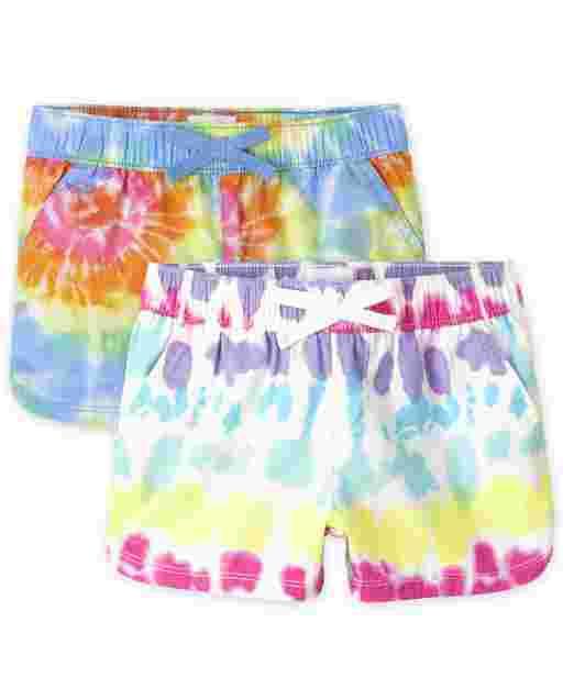Pack de 2 pantalones cortos sin tirantes de sarga estampados para niñas
