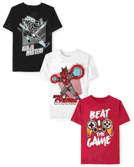 Boys Short Sleeve Ninja Gamer Graphic Tee 3-Pack