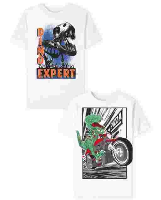 Boys Short Sleeve Dino Graphic Tee 2-Pack