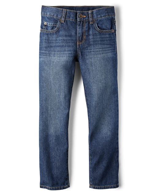 Essentials Kids Boys Stretch Straight-Fit Jeans Doppler//Light Wash 8 Slim