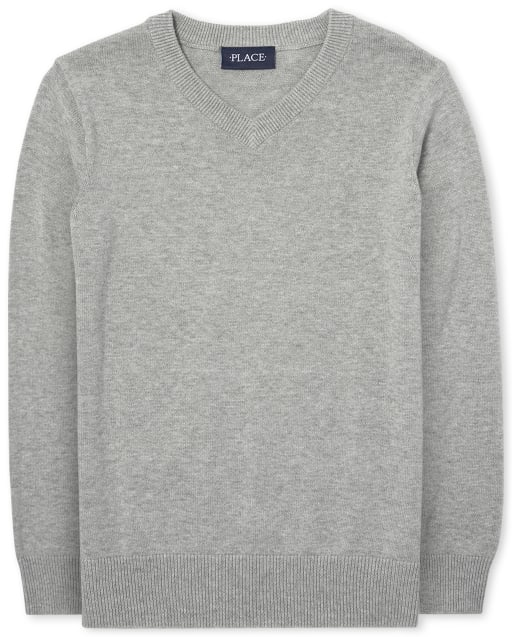 The Childrens Place Boys Big Solid Crew Sweaters