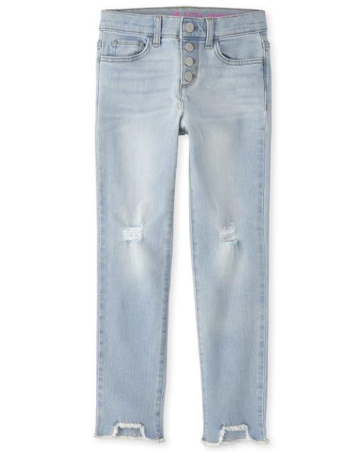 The Childrens Place Girls Step Hem Distressed Denim Straight Jeans
