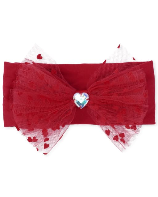 VALENTINE ACCESSORIES-Boutique Style-Pink and Red-Loopy Bow Ribbon Bow-Red Shabby Headband-Heart-Infant Headband-Baby/'s First Valentines-V