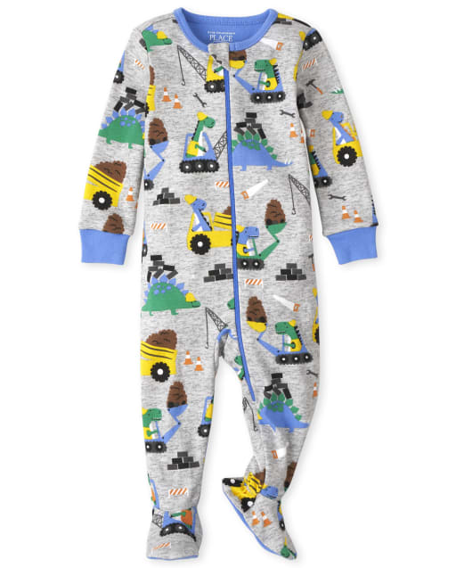 The Childrens Place Boys Baby and Toddler Construction Fleece One Piece Pajamas