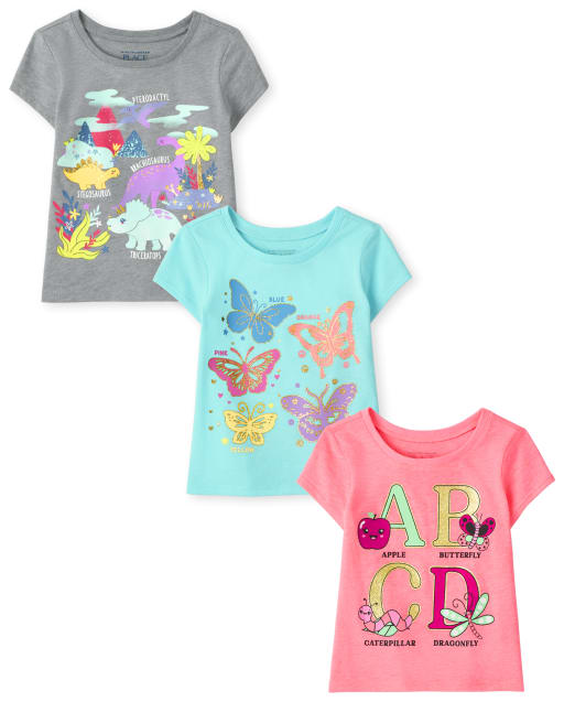 The Childrens Place Baby Girls Cold Shoulder T-Shirts Pack of Three