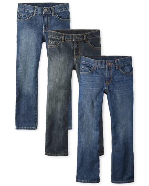 NWT Children's Place Boys Bootcut Jeans Sz 7 8 10 Slim Cotton Adjustable