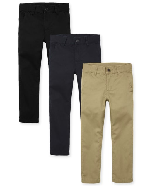 PanpanBox Jeans Boy Patch Pants Elastic Waist Chino Trousers Casual Age 3-8 Years Kids Basic