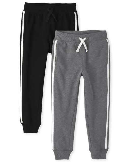 Boys Active Side Stripe Fleece Jogger Pants 2-Pack