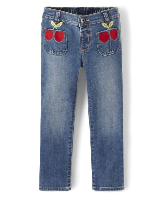 Girls Embroidered Cherry Jeans - Very Cherry