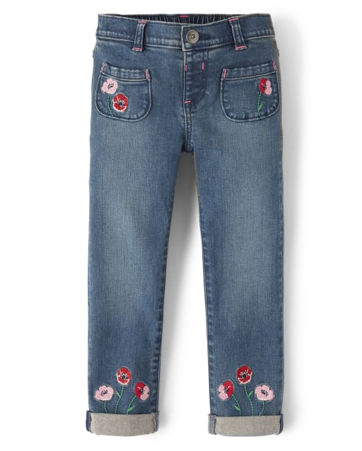 Girls Embroidered Poppy Jeans - Playful Poppies