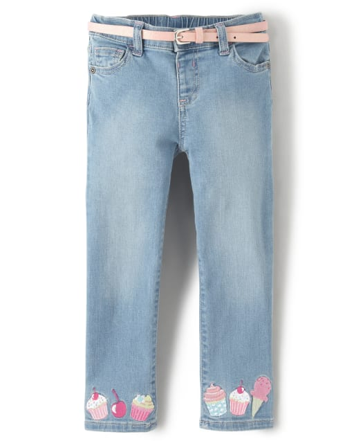 Girls Embroidered Cupcake And Ice Cream Belted Jeans - Hello Cupcake
