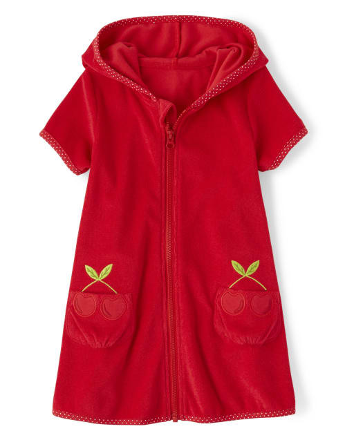 Girls Short Sleeve Embroidered Cherry Terry Hooded Cover Up - Very Cherry