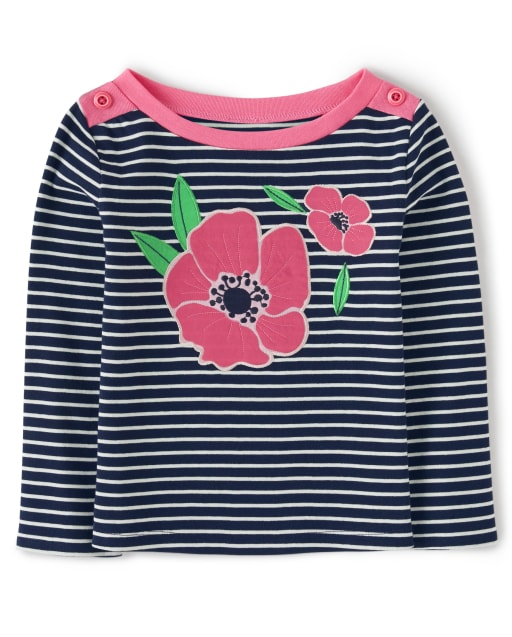 Girls Long Sleeve Embroidered Poppies Striped Top - Playful Poppies