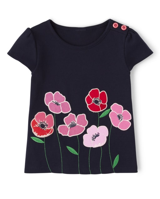 Girls Short Sleeve Embroidered Poppies Top - Playful Poppies