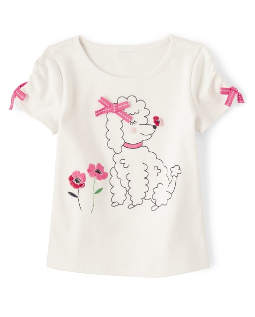 Girls Short Sleeve Embroidered Puppy Top - Playful Poppies