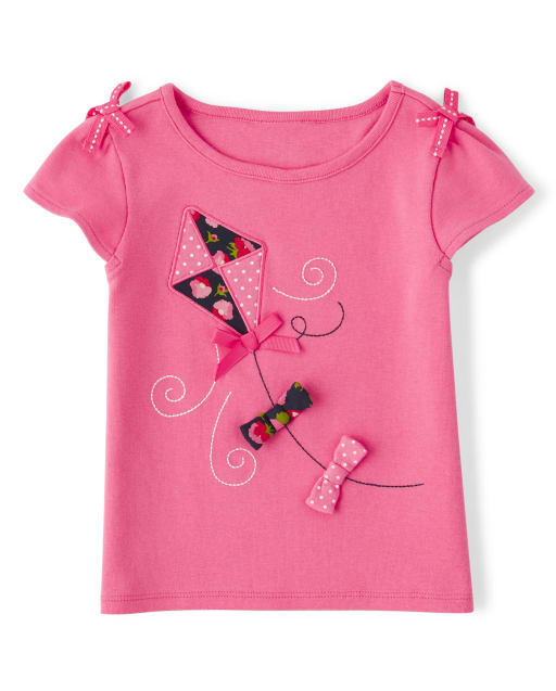 Girls Short Sleeve Embroidered Kite Top - Playful Poppies