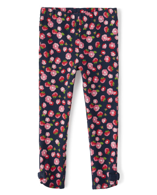Girls Floral Print Bow Knit Leggings - Playful Poppies