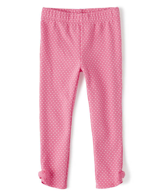 Girls Dot Print Bow Knit Leggings - Playful Poppies