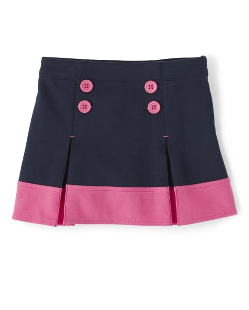 Girls Ponte Knit Button Skort - Playful Poppies