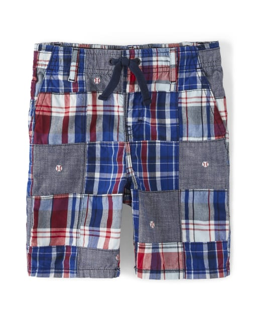 Boys Madras Poplin Pull On Shorts - Opening Day