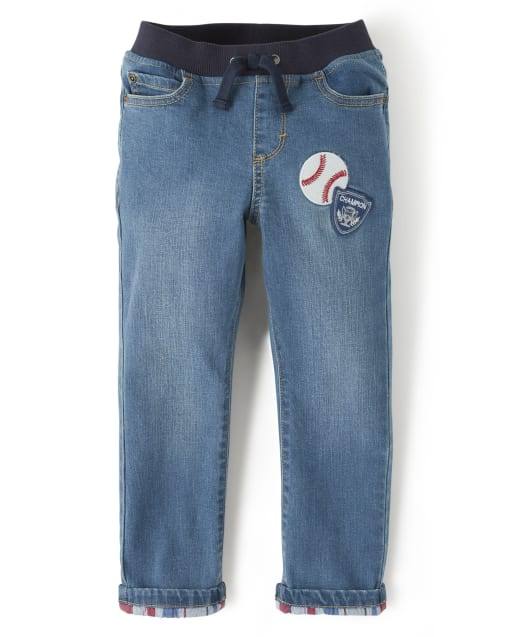 Boys Baseball Patch Pull On Jeans - Opening Day