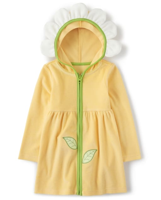 Girls Long Sleeve Daisy Terry Hooded Cover Up - Pocketful Of Posies