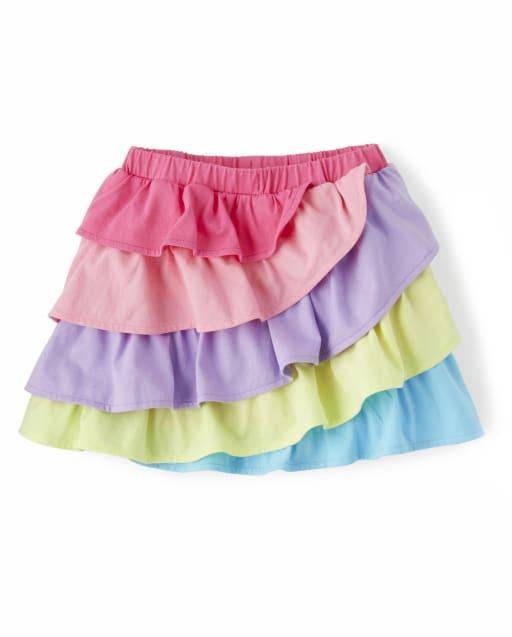 Girls Colorblock Tiered Knit Skort - Hello Cupcake