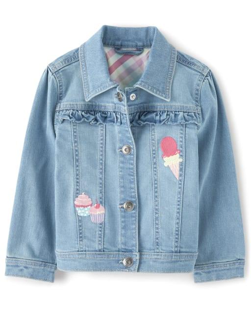 Girls Long Sleeve Embroidered Cupcake Ruffle Denim Jacket - Hello Cupcake