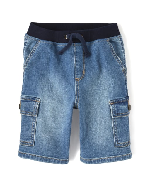 Boys Denim Cargo Shorts - Opening Day And Whale Hello There