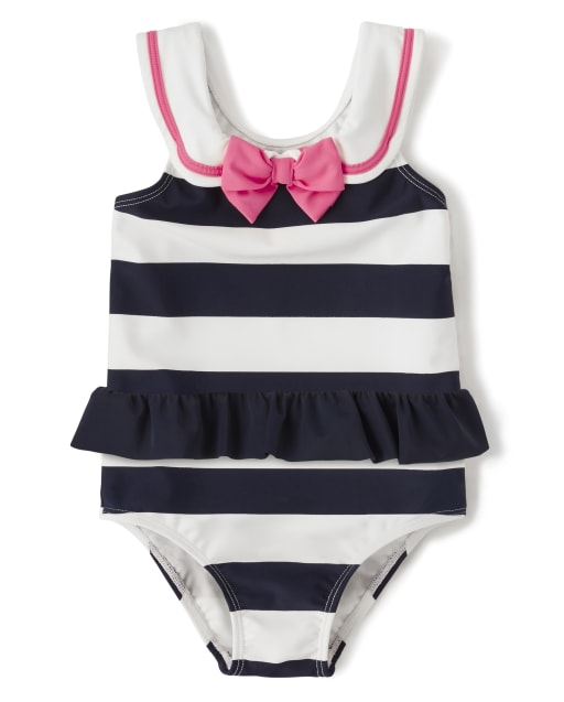 Girls Striped Skirt One Piece Swimsuit - Playful Poppies