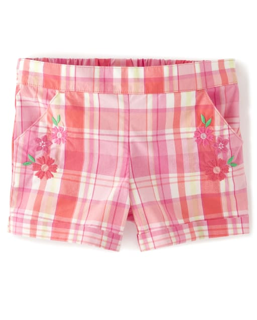 Girls Embroidered Flowers Plaid Poplin Pull On Shorts - Fairy Blossom