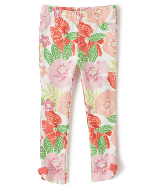 Girls Floral Print Bow Knit Leggings - Fairy Blossom
