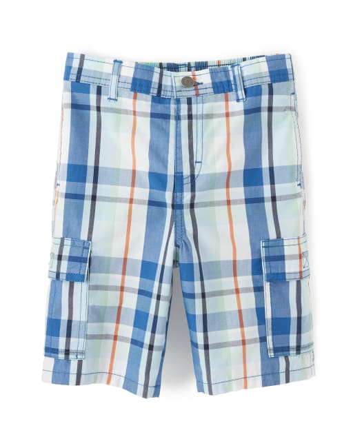 Boys Plaid Poplin Cargo Shorts - Whale Hello There