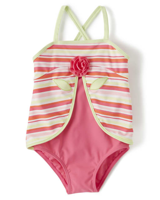 Girls Striped Flower One Piece Swimsuit - Fairy Blossom