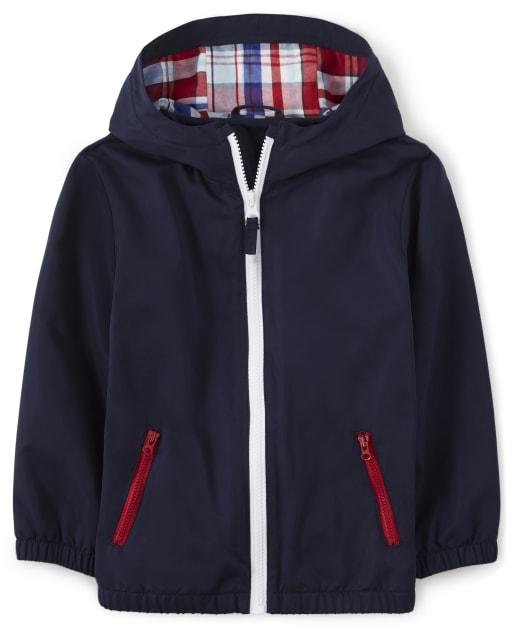 Boys Long Sleeve Plaid Lined Windbreaker Jacket - Opening Day