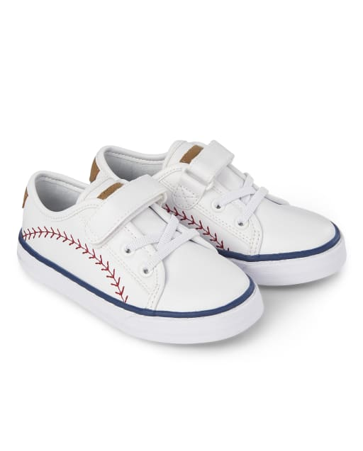 Boys Baseball Faux Leather Low Top