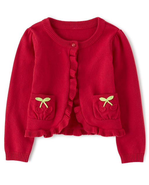 Girls Long Sleeve Embroidered Cherry Cardigan - Very Cherry