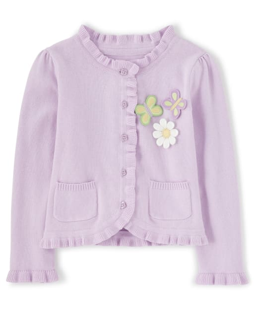Girls Long Sleeve Butterfly Applique Cardigan - Pocketful Of Posies