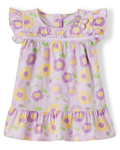 Girls Short Flutter Sleeve Floral Print Poplin Top - Pocketful Of Posies