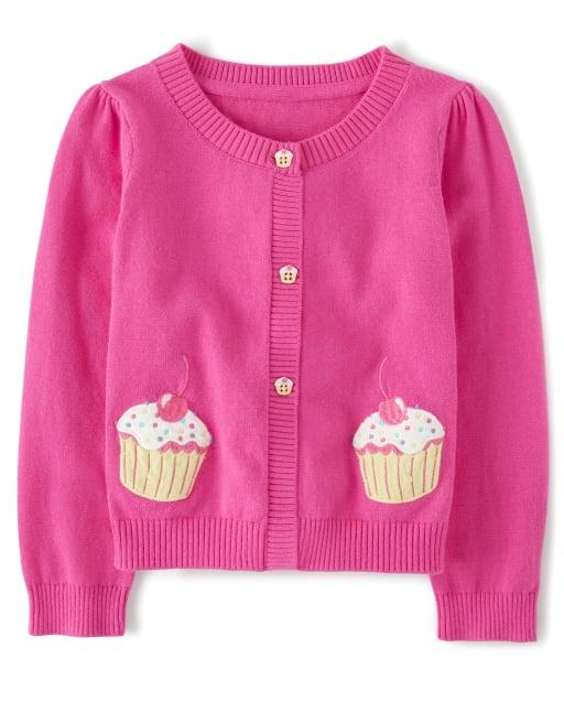 Girls Long Sleeve Embroidered Cupcake Cardigan - Hello Cupcake